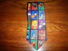 Buggs Daffy Taz Tweety Bird Retro Men's Polyester Collectable Stamp Necktie T01