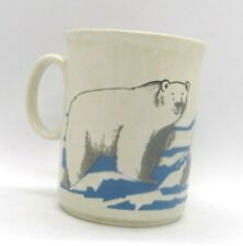 Polar Bears Bear Coffee Cup Glazed Stoneware Blue White Made in England