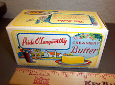 1930's Waxed Butter Box Pride O'Langworthy Iowa has Colorful Dairy Farm Picture