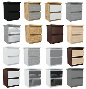 Bedside Cabinet Table Nightstand 30 x 30 x 40cm 2 Drawers Modern Design