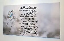 FAMILY BUTTERFLY LOVE VERSE QUOTE CANVAS PRINT WALL ART PICTURE18 X 32 INCH