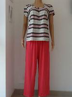 Ladies Short Sleeve Stripe Top Long Pink Pant Pyjama set 8-10,12-14,16-18,20-22