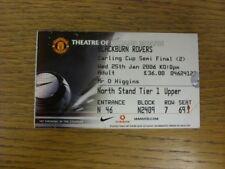 25/01/2006 Ticket: Football League Cup Semi-Final, Manchester United v Blackburn