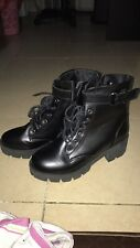 Black High Heeled Combat Boots Size 6.5