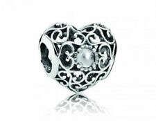 AUTHENTIC PANDORA S925 Charm SIGNATURE HEART Openwork Birthstone April 791784