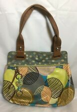 Fossil Key-Per Circles Cotton Coated Canvas Multi-Color Hobo Shoulder Bag Key