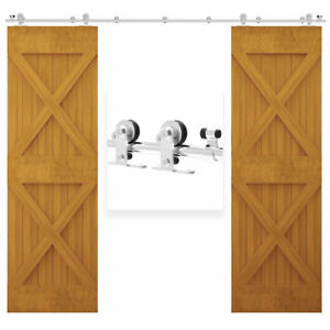6FT-13FT Sliding Door Hardware Kit For Double Door Stainless Steel Track Closet