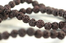 6MM BROWN VOLCANIC BASALTIC LAVA GEMSTONE GRADE A ROUND 6MM LOOSE BEADS 18""