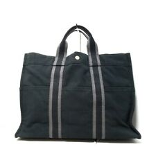 Auth HERMES Fourre Tout Tote MM Black Gray Canvas Tote Bag