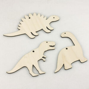 Wooden DINOSAURS Kids Craft Shapes Jurassic Hanging Decorations Gift Tags Birch