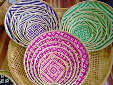 Basket Bamboo Vintage Woven Wicker Wood  Rattan Storage Handles Handmade Fruit