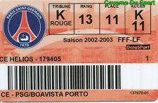 CARTE ABONNEE MATCH PARIS SAINT-GERMAIN PSG Vs BOAVISTA UEFA CUP # 26-11-2002