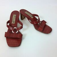 Brighton Terry Women's Red Crocodile Print Heeled Sandals Shoes Size 6M