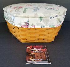 """New Listing2001 Longaberger 12"""" Generations Basket, Botanical Fields Lid & Liner, Protector"""