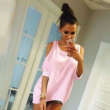 Womens Cut Out Cold Shoulder T-Shirt Tee Summer Holiday Casual Shirt Tops Blouse