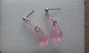 Pretty pink crystal drop silver plated stud earrings
