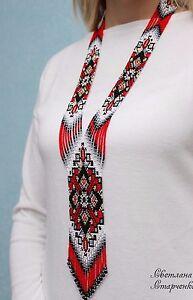 "Handmade Necklace ""Ukrainian"" (red, black and white)"
