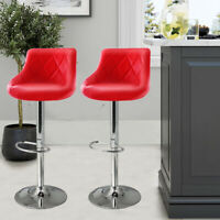 Modern Set of 2 Bar Stools Pub Chair Counter Height PU Leather Swivel Dining