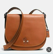 Disney X Coach limited edition brown Mickey Mouse leather saddle bag