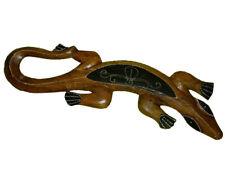 Wandfigur Holzfigur Gecko Dotpaint braun 60cm
