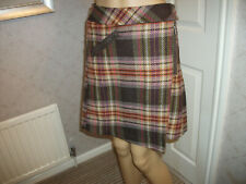 NEXT SIZE 10 WINTER SKIRT LINED BROWN CHECK PLEATED @BACK WITH WOOL  VGC