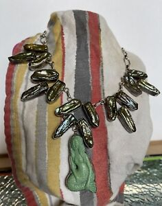 Silver & Shell Mermaid Hand Carved Necklace