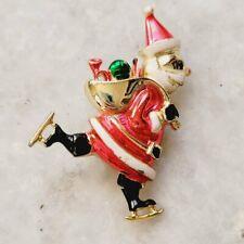 Vintage Beatrix 1946 Santa Claus Enamel Ice Skating Presents Sack Holiday Brooch