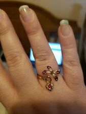 Gucci Butterfly Flora Rose Gold 9.5 Ring Ruby