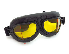 Vintage Aviator Style Motorcycle Scooter Goggles - Black - Yellow Lens