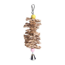 Parrot Bird Toys Natural Wood Straw Chewing Bite Hanging Cage Bell Swing Climb