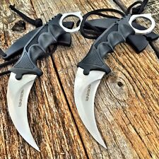2PC TACTICAL COMBAT KARAMBIT KNIFE Survival Hunting BOWIE Fixed Blade w/SHEATH-F