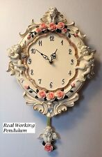 Antique Style Pendulum Wall Clock Cherub Angels Pink Roses Vintage Home Decor