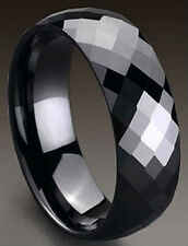 TUNGSTEN CARBIDE High Polished Black Plated Diamond Faceted RING BAND, size 9