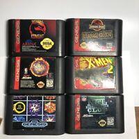 LOT OF 6 - SEGA GENESIS Game Cartridges only -  Mortal Kombat, NFL, NBA, X-men