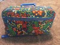 Vtg Mid Century Mod Hippie Flower Power Blue Floral Travel Luggage Suitcase