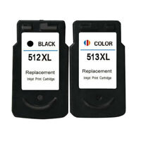 2x Ink Cartridges PG 512 CL 513 XL For Canon Pixma MP240 MP250 MP260 MP270