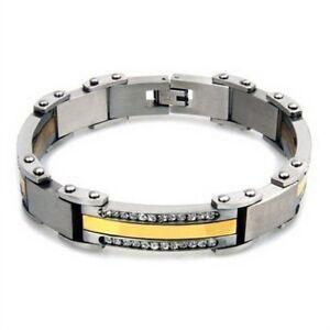 Men's Bracelet Stainless Steel 316L 8.5 Inches Cubic Zirconia Channel Set Stones