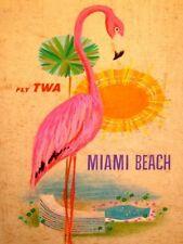 Miami Beach Fly TWA voyage Publicitaire Rétro Métal Plaque Murale Vintage signe