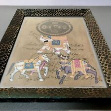 INDIAN MINIATURE. ELEPHANT, HORSE & CAMEL. AUTHENTIC ART DECO FRAME. RAJASTHAN.