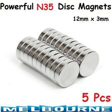 5 pcs Rare Earth Magnets 12mm x 3mm Disc N35 Neodymium Strong Button Batteries