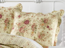 ANTIQUE ROSE QUILTED * King * SHAM : CHIC COTTAGE CREAM YELLOW SHABBY RED ROSES