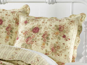 ANTIQUE ROSE QUILTED STANDARD SHAM : CHIC COTTAGE CREAM YELLOW SHABBY RED ROSES