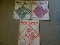 LOT - VINTAGE 3 MAGAZINES - HUTCHINSONS TREES AND FLOWERS OF THE COUNTRY SIDE