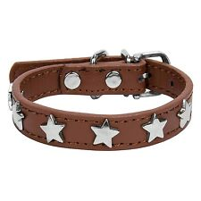 Puppy Pet Dog Cat Collar Rhinestone PU Leather Crystal Diamond Buckle Size S-XL