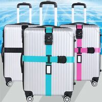 Adjustable Travel 3-Dial Combination TSA Lock Luggage Suitcase Secure Strap Belt