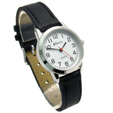 Ravel Ladies Easy Read Big Number Watch Clear White Face Minute Track Black Silv