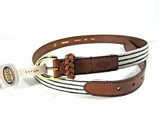 Fossil Women's Belt White Brown Size Medium (M) New NWT