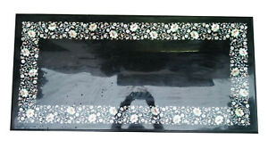 """18""""x24"""" Black Rectangle Marble Coffee Top Table Precious MOP Floral Decors B709"""