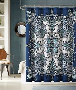 Istanbul Blue Fabric Shower Curtain: Floral Mandala Design Original