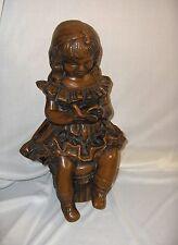 Fabbri Art Studio Statue Figurine Chalkware Girl Reading Book Ruffled Dress NICE